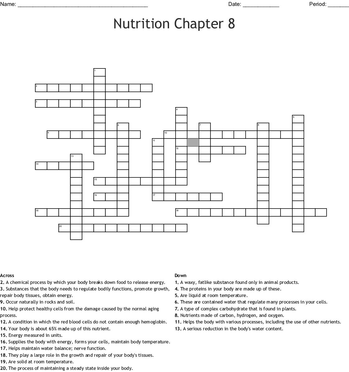 Nutrition Chapter 8 Crossword
