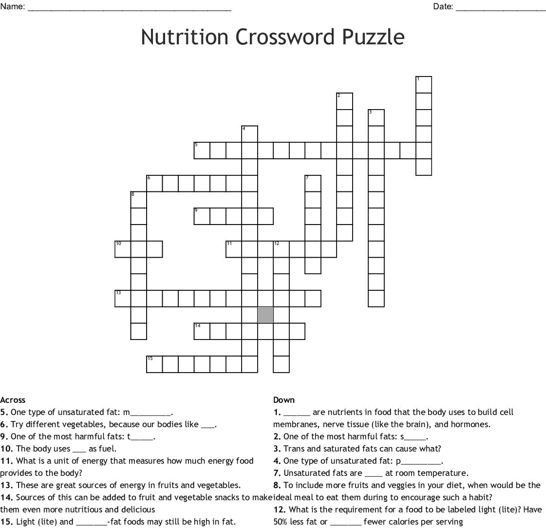 Nutrition Crossword Puzzle Crossword