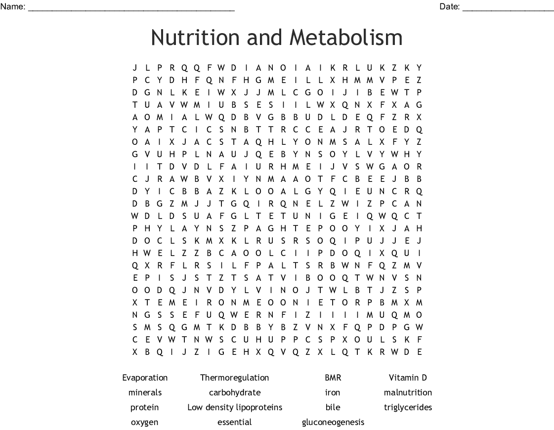 Nutrition And Metabolism Word Search