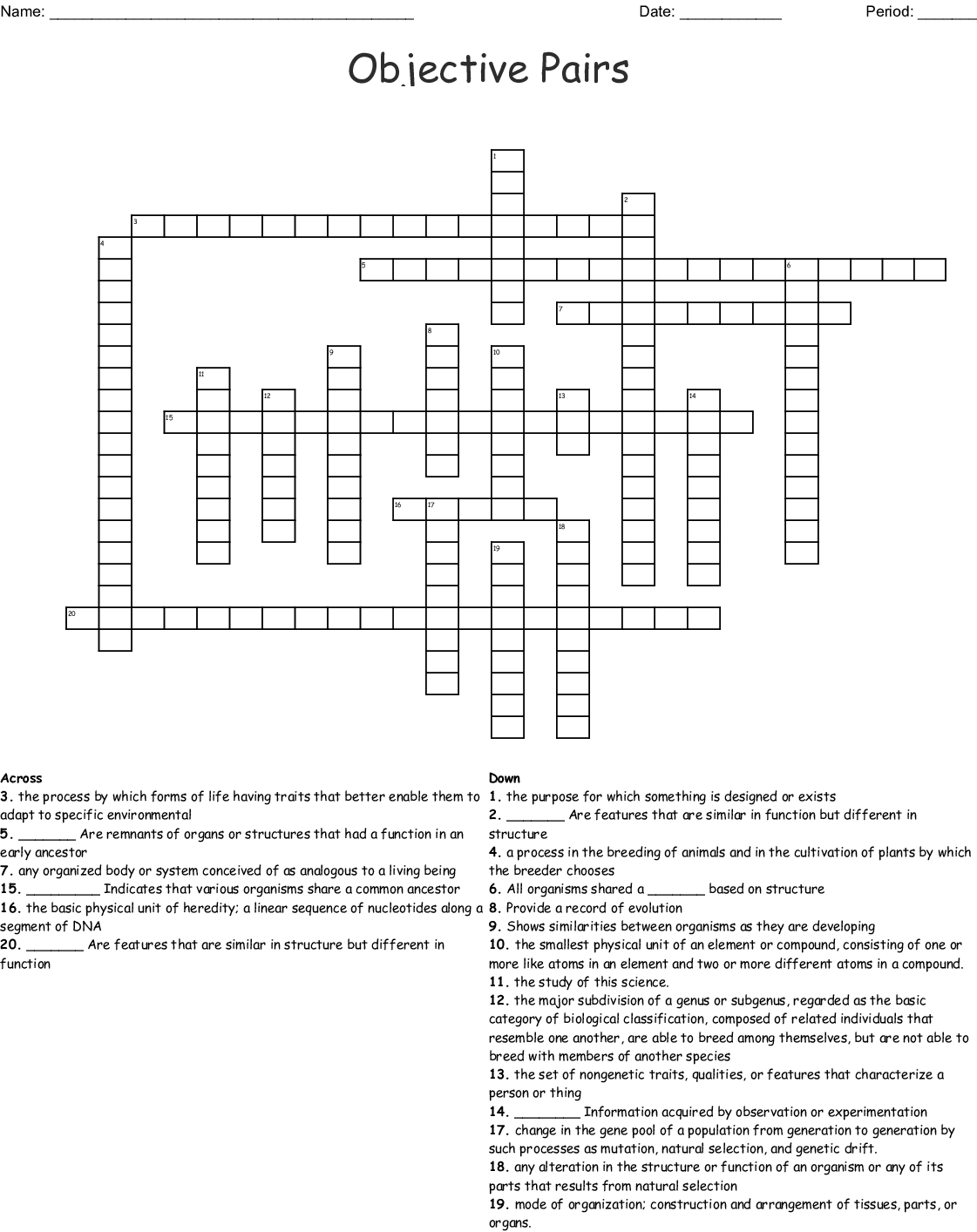 Objective Pairs Crossword