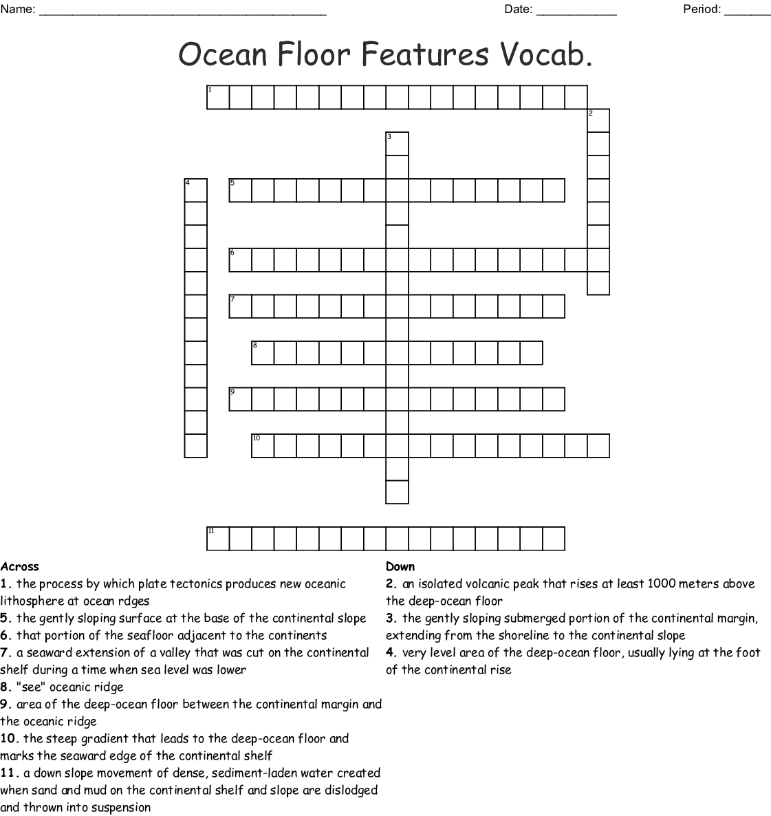 Features Of The Ocean Floor Worksheet Answers