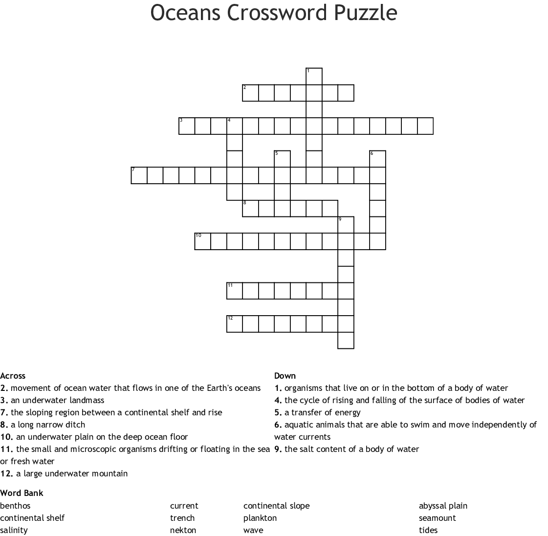 Oceans Crossword Puzzle