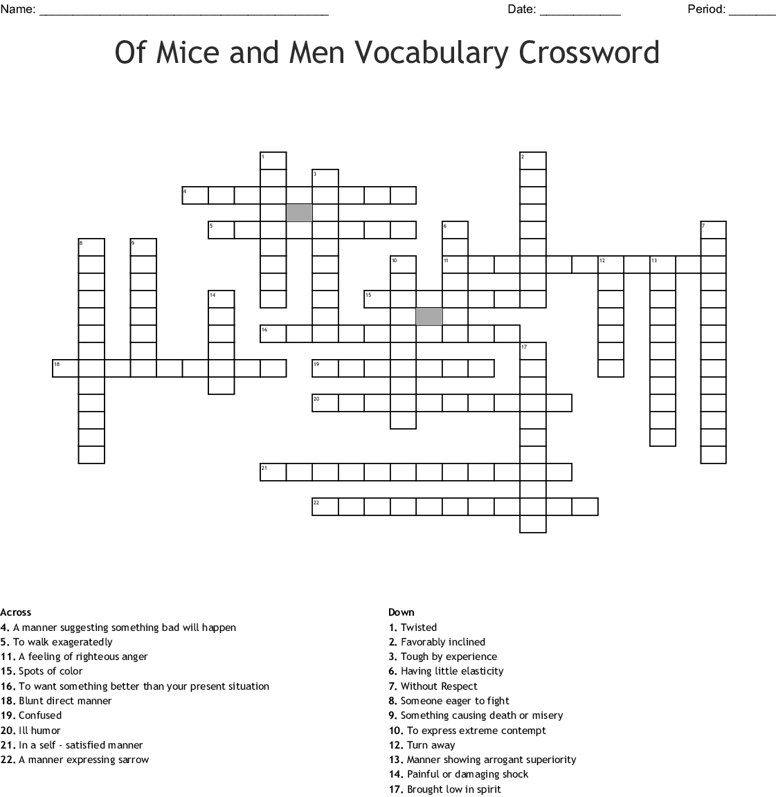 Of Mice And Men Chapter 1 3 Word Search