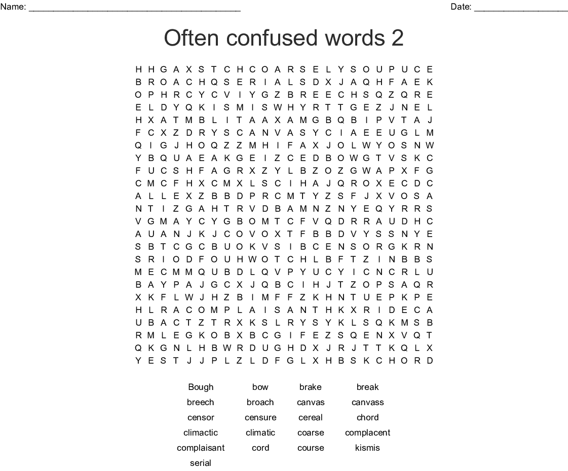 Often Confused Words 2 Word Search