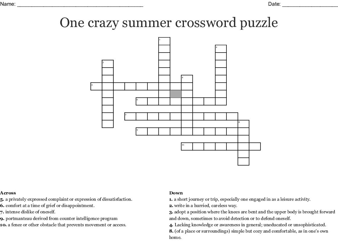 One Crazy Summer Crossword Puzzle