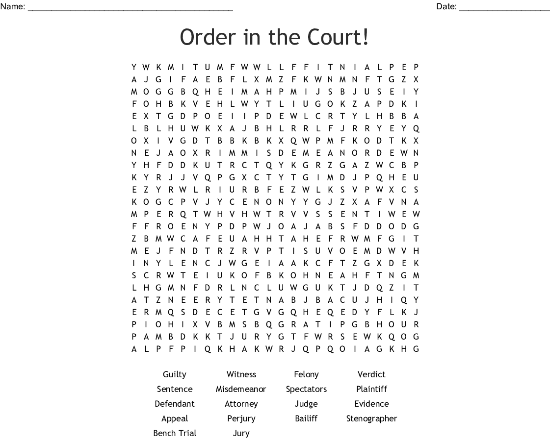 Court Competency Word Search