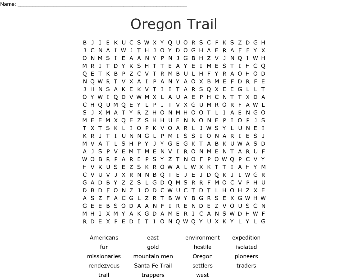 Oregon Trail Word Search