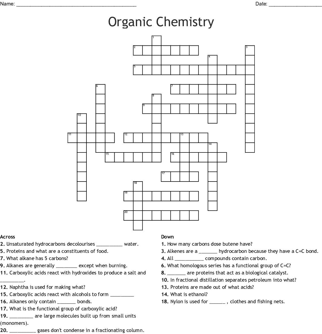 Organic Chemistry Crossword