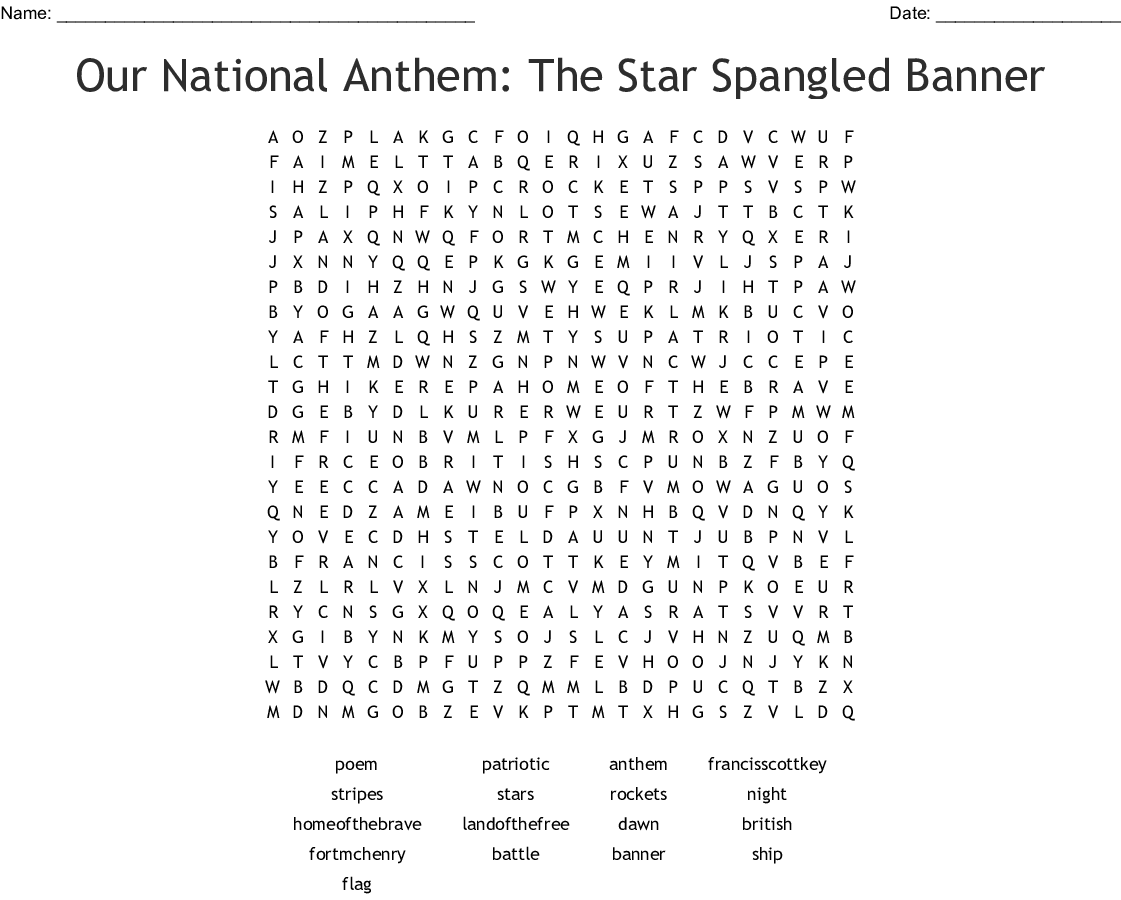 Star Spangled Banner Word Search