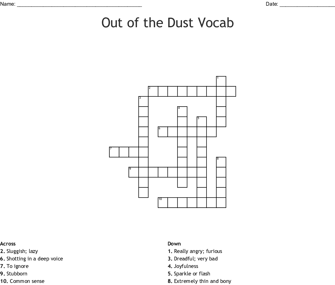 Out Of The Dust Vocabulary Crossword