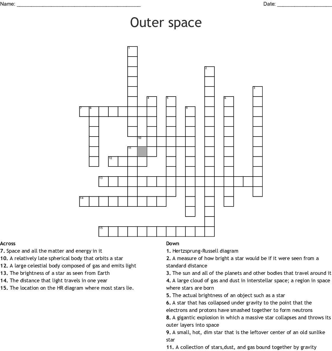 Universe Worksheet