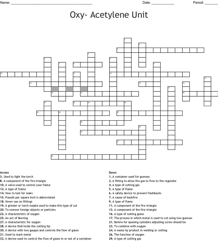 Oxy Acetylene Unit Crossword