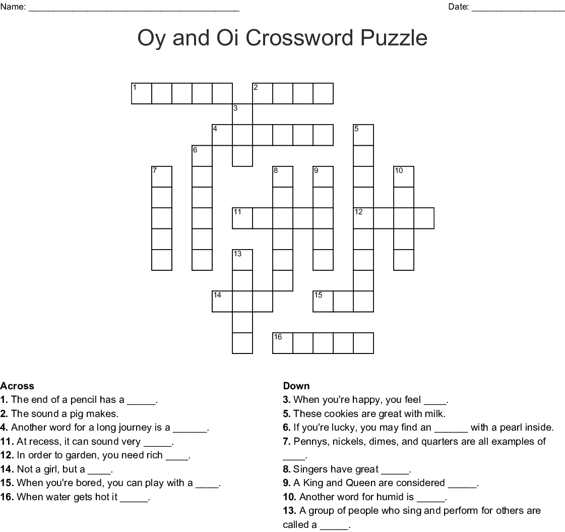 Oy And Oi Crossword Puzzle Crossword