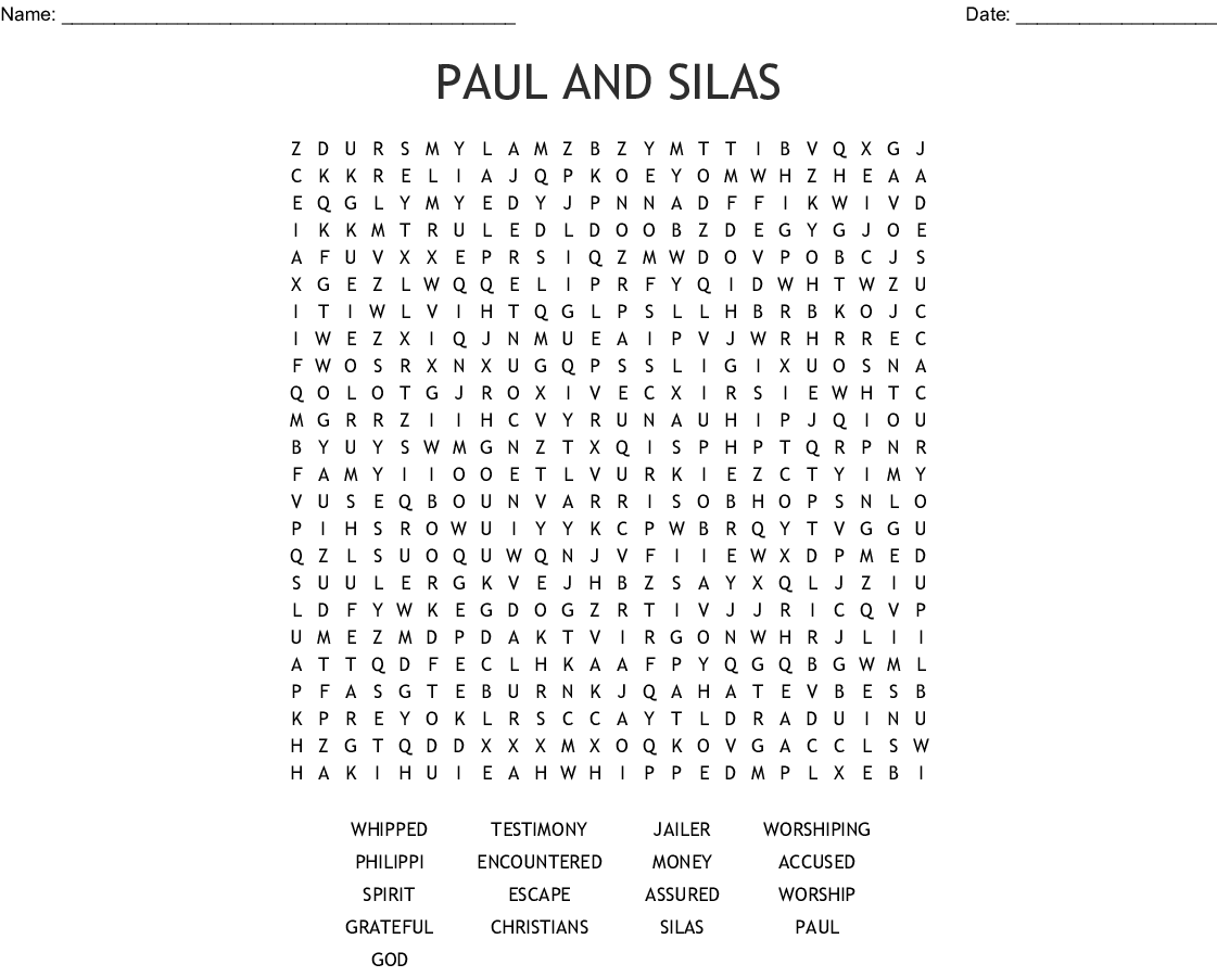 Paul And Silas Word Search