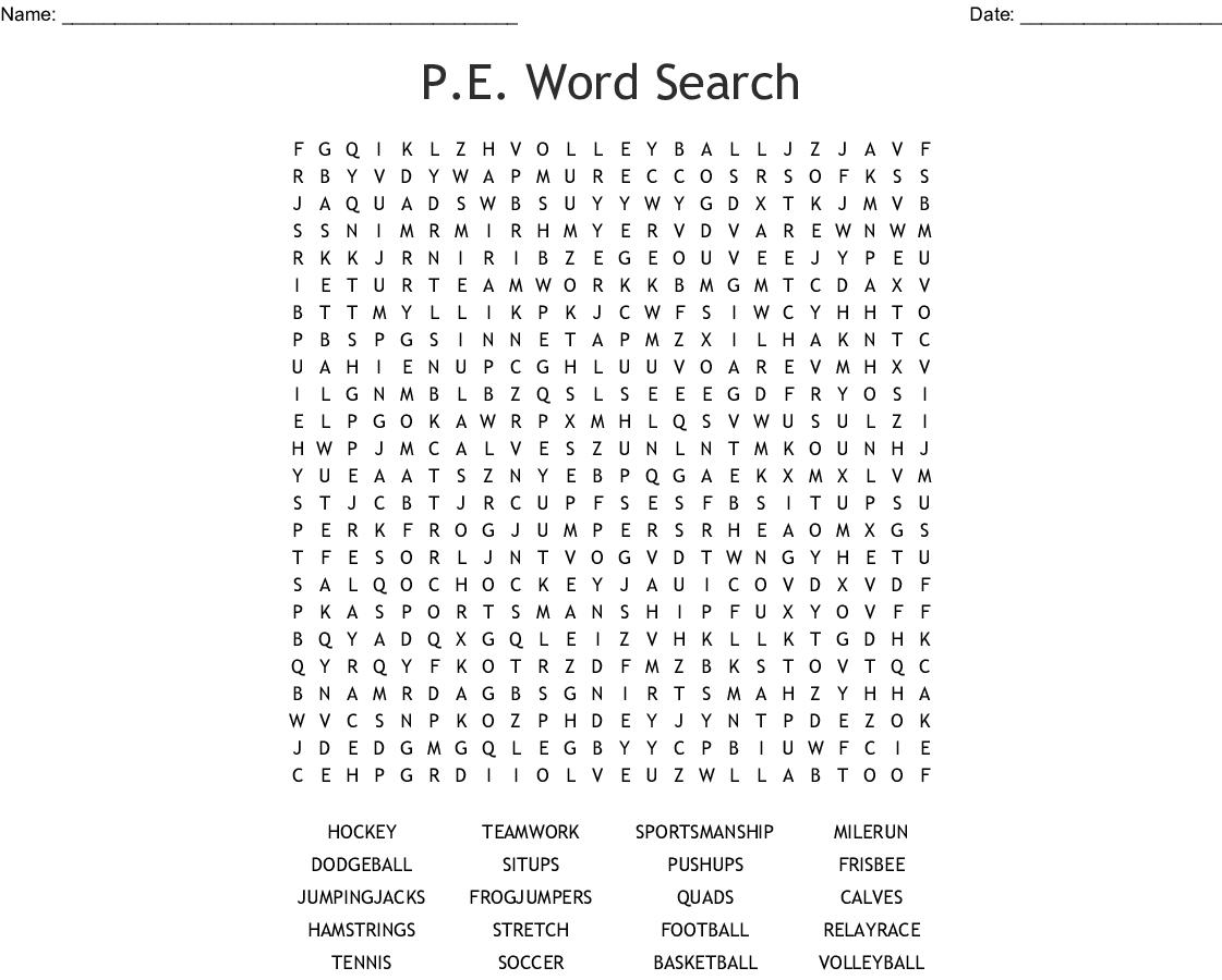 P E Word Search