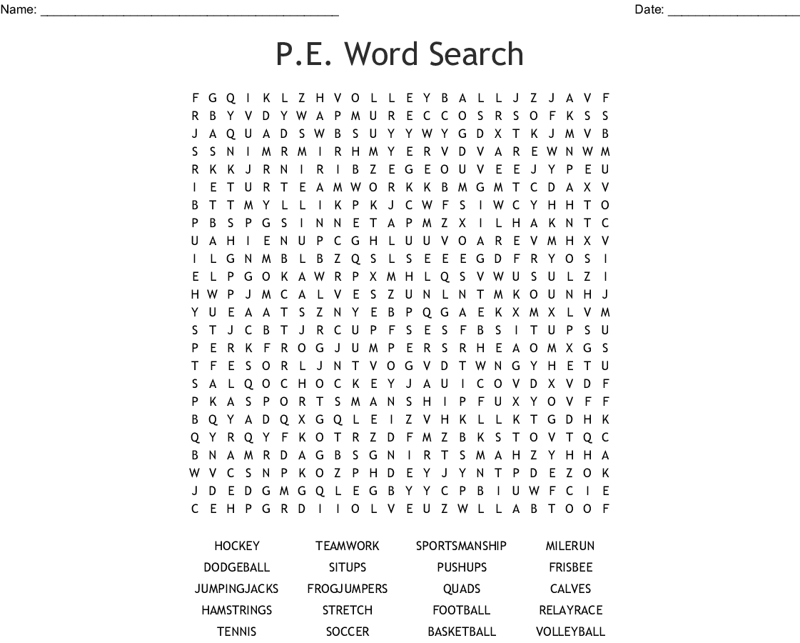 P.E. Word Search