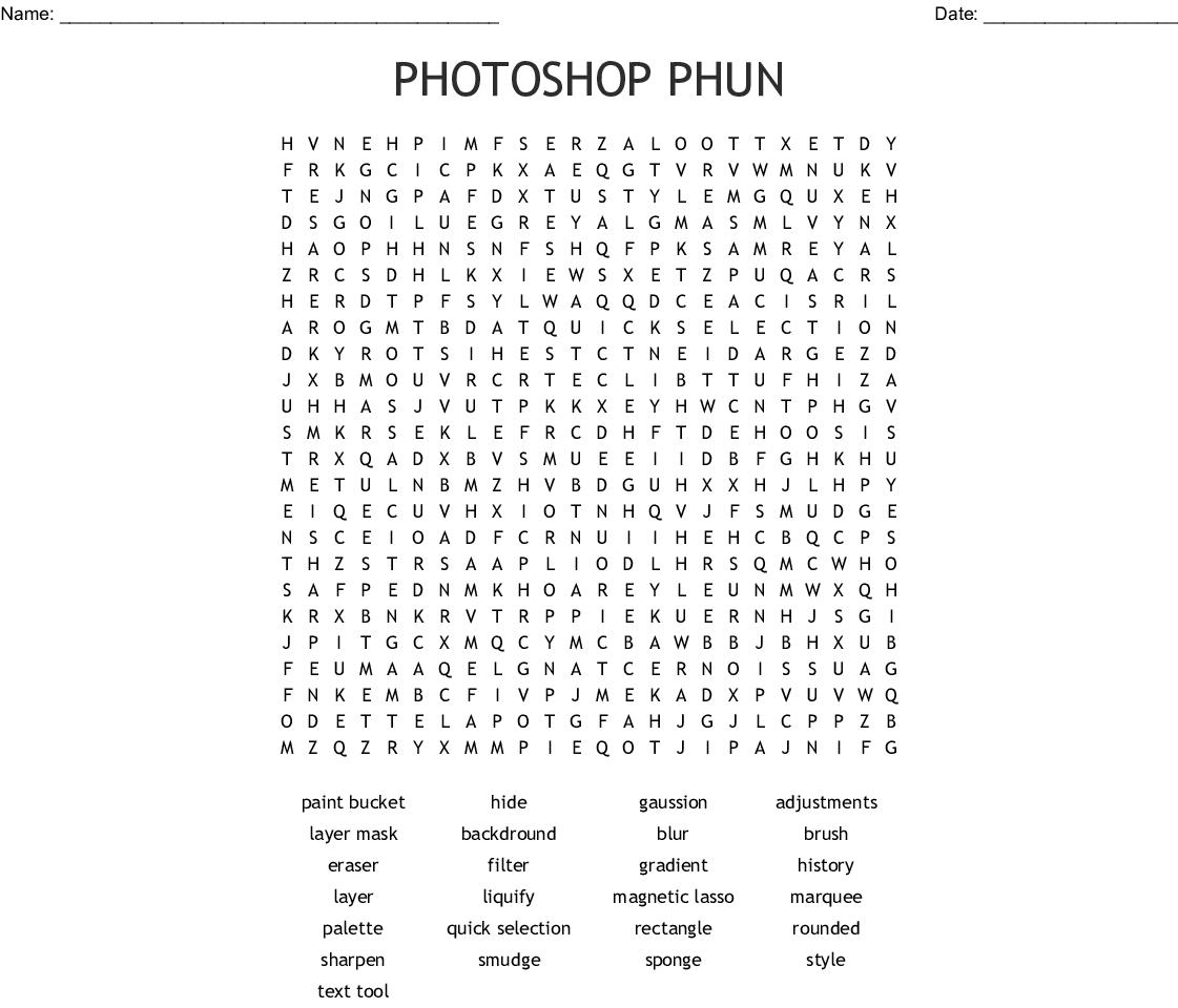 Photoshop Phun Word Search