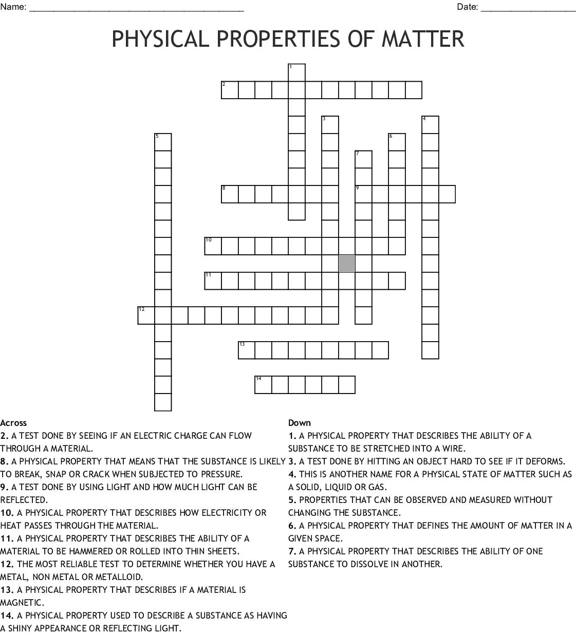 Physical Properties Of Matter Crossword