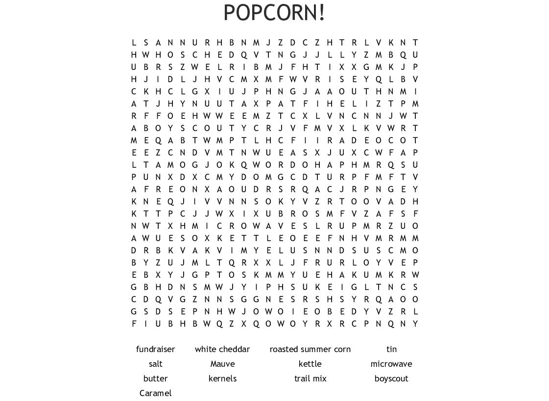 Popcorn Word Search