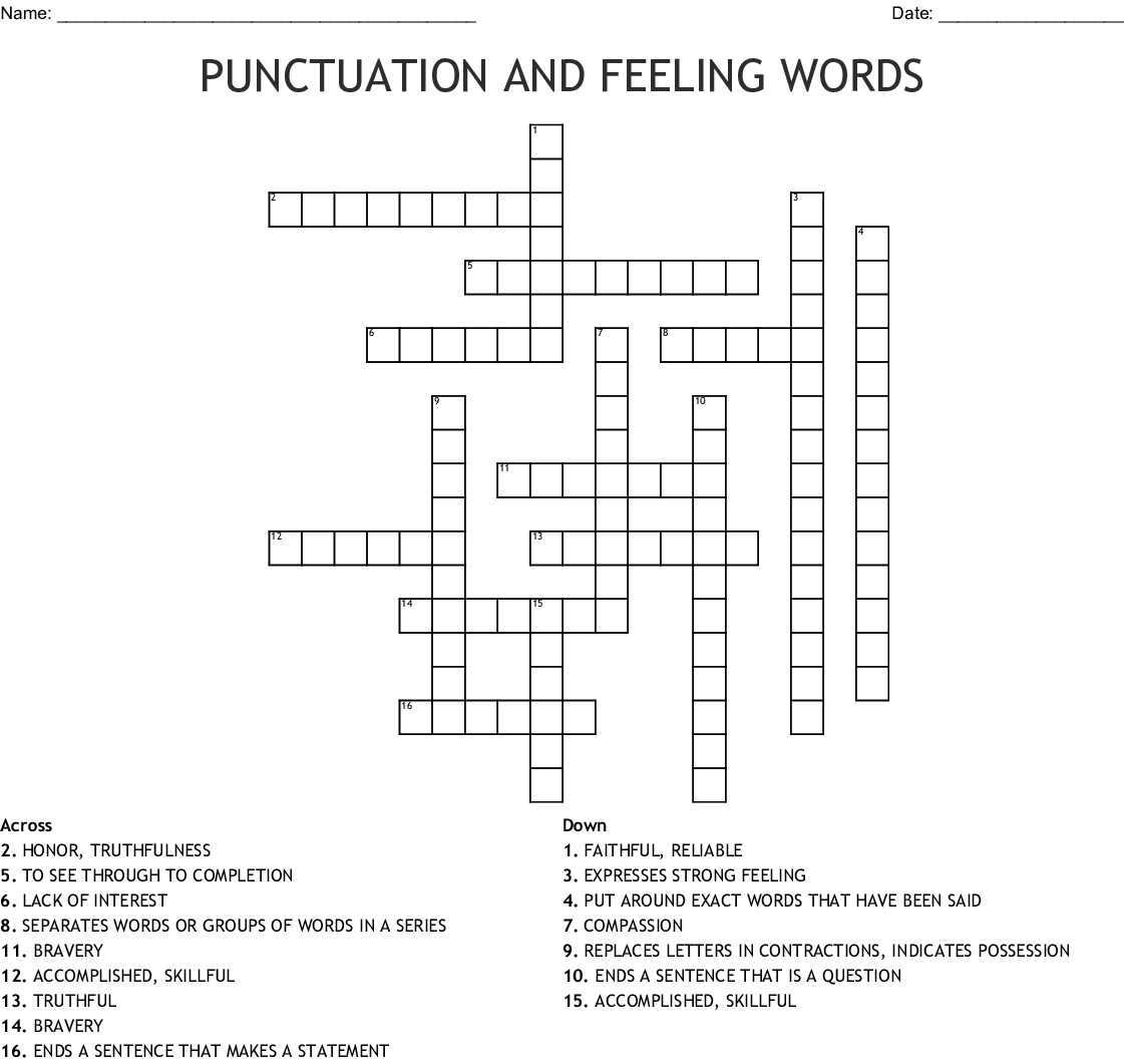 Punctuation And Feeling Words Crossword
