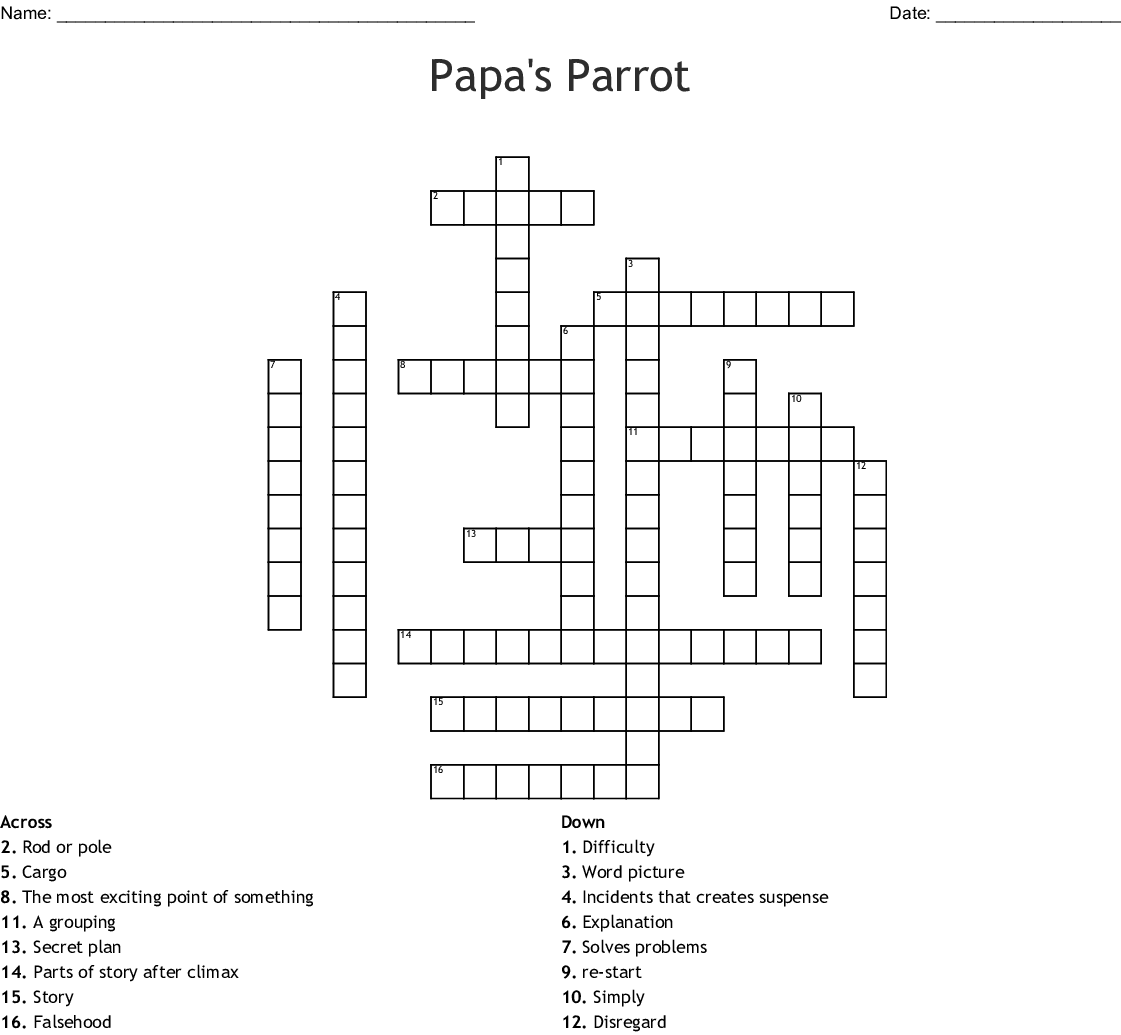 Papa S Parrot Vocabulary Words Crossword