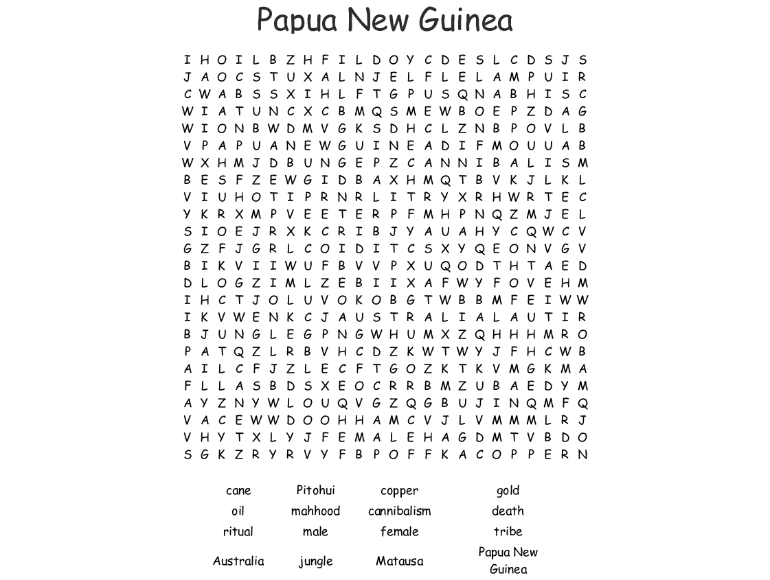 Papua New Guinea Word Search