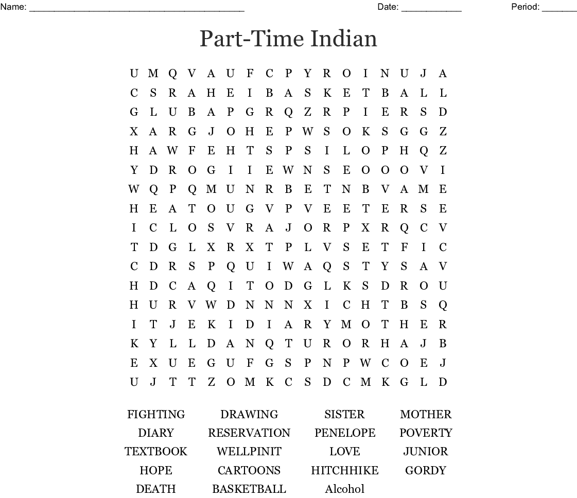 The Absolutely True Diary Of A Part Time Indian Crossword