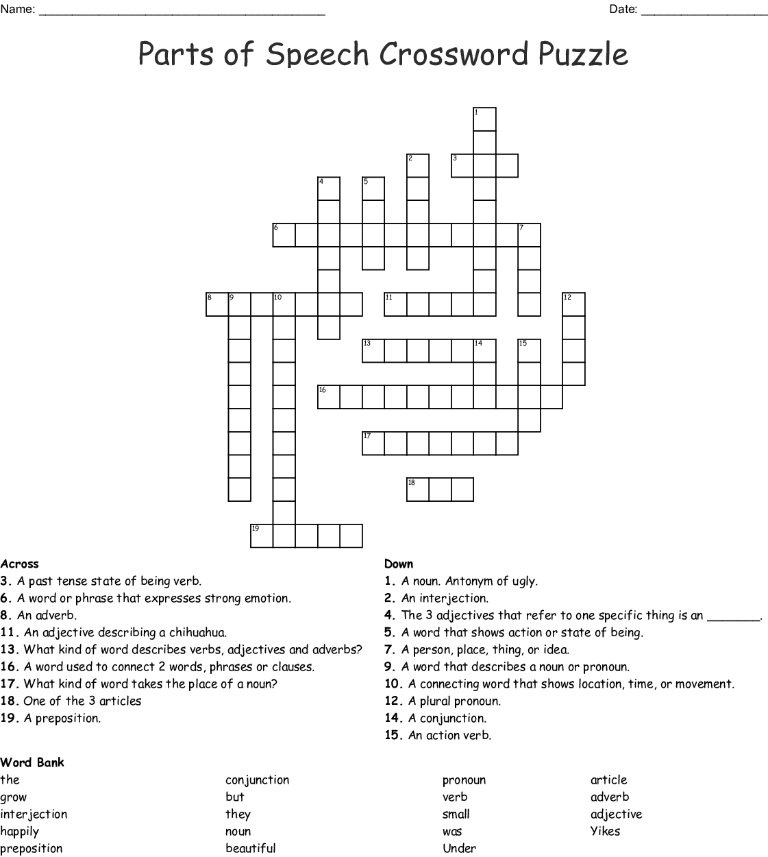 Grammar Crossword Puzzle