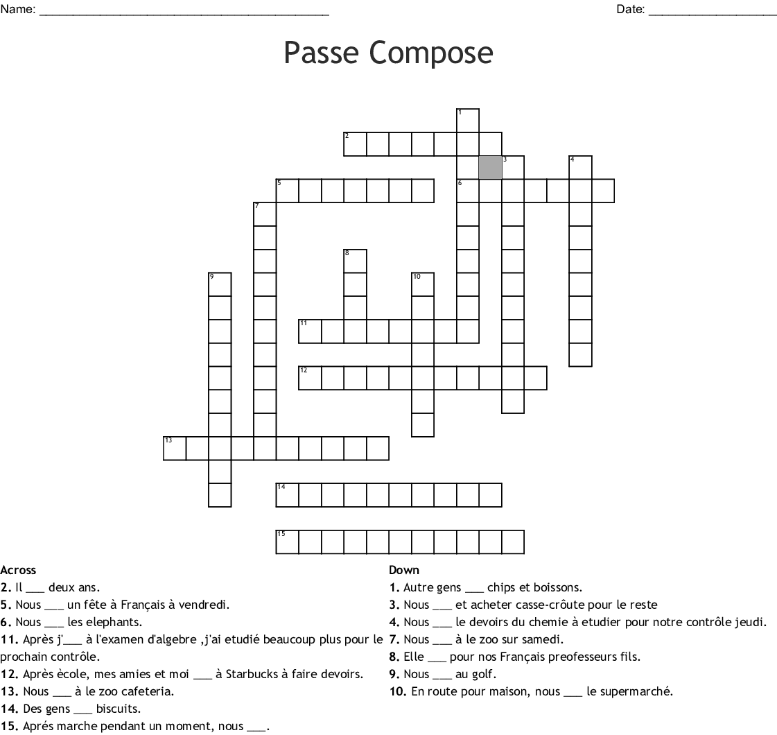 French Words Crossword