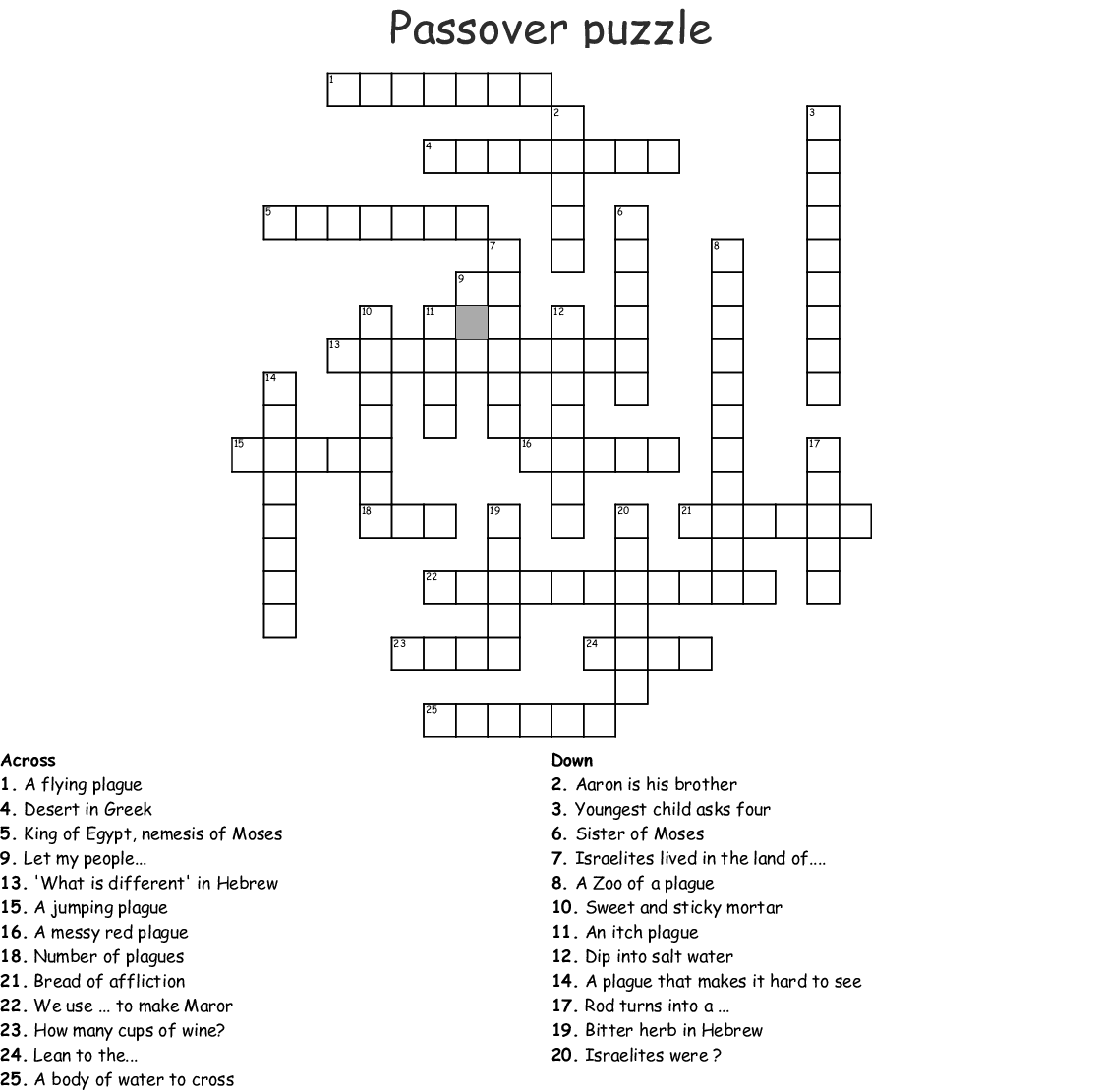 Passover Puzzle Crossword