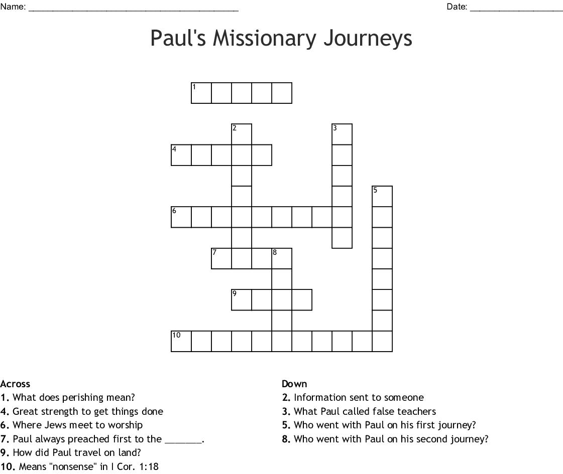 Paul S Missionary Journeys Crossword