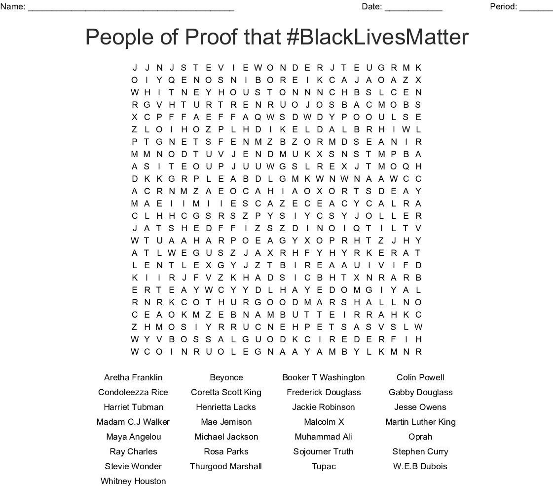 Black History Word Search Puzzle