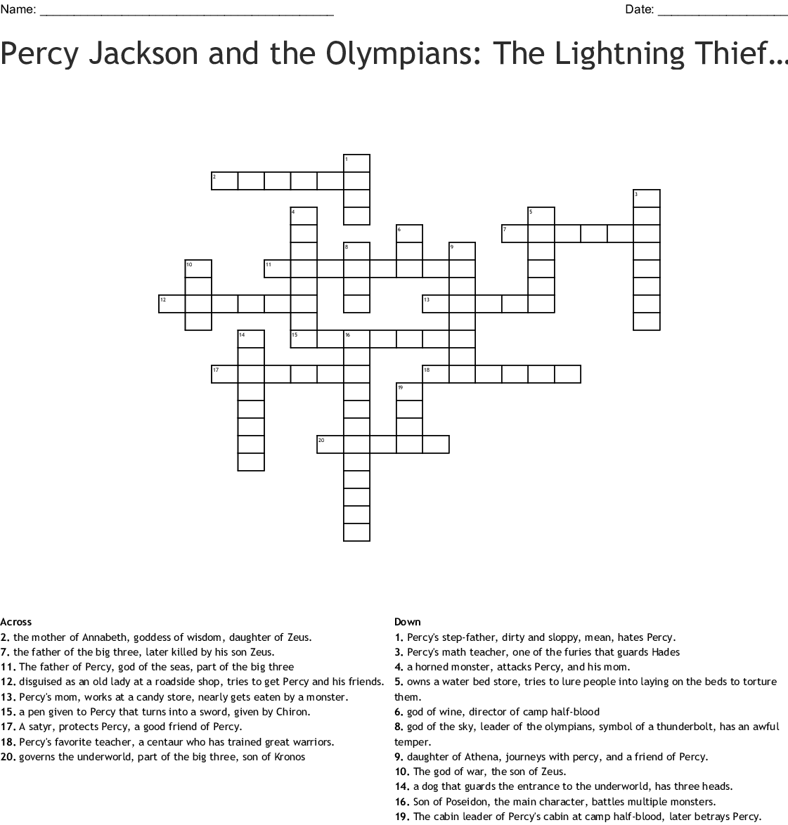 The Lightning Thief Crossword
