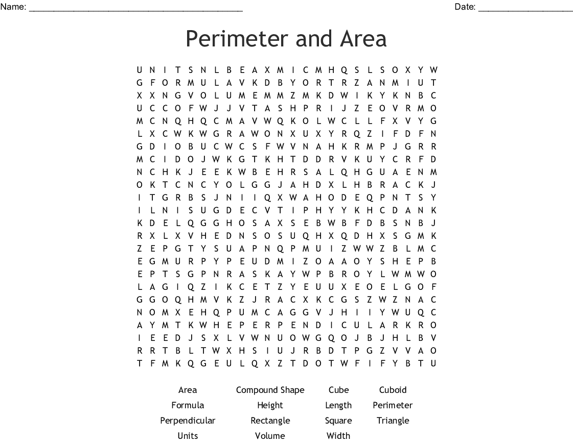 Perimeter And Area Word Search