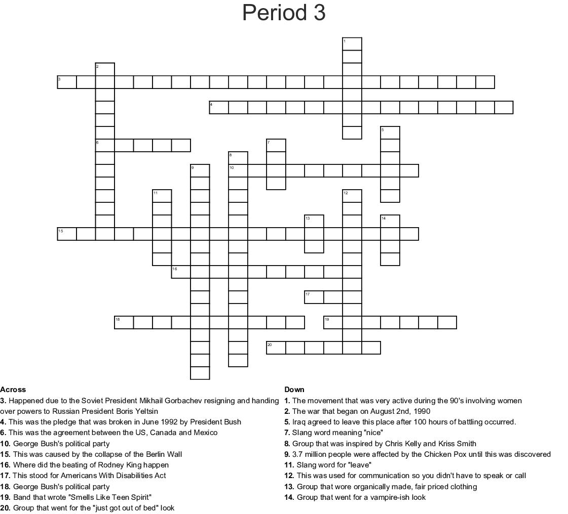 Period 3 Crossword