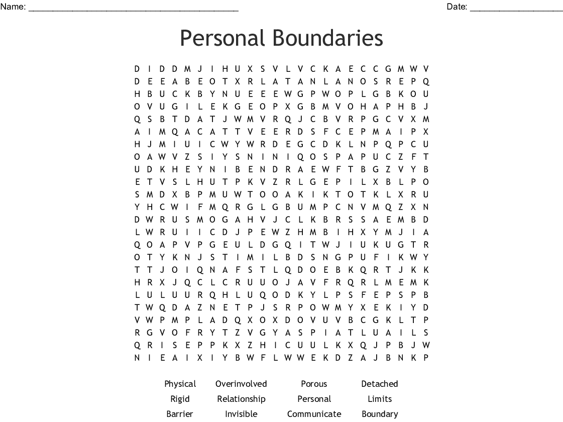Personal Boundaries Word Search
