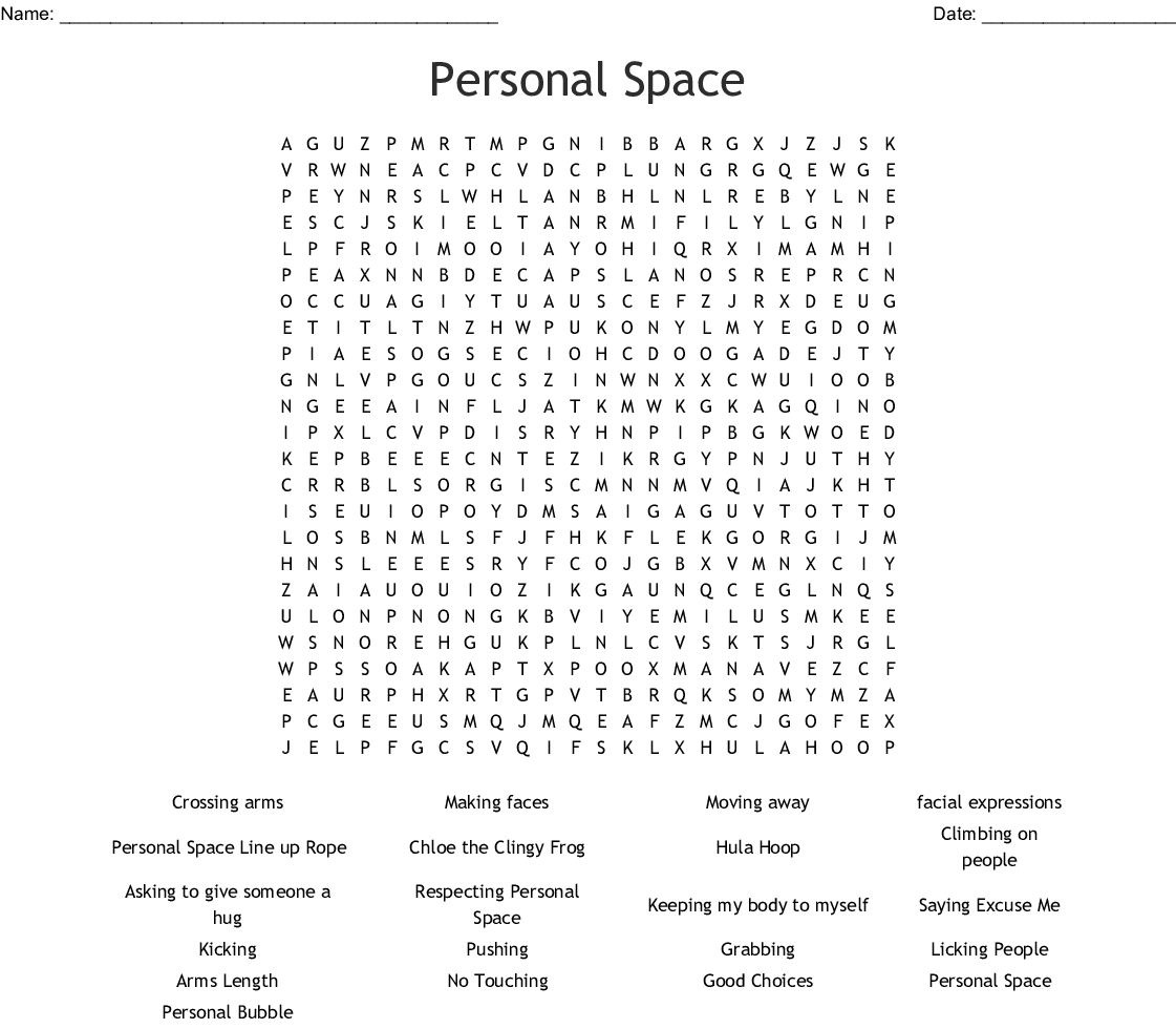Personal Space Word Search