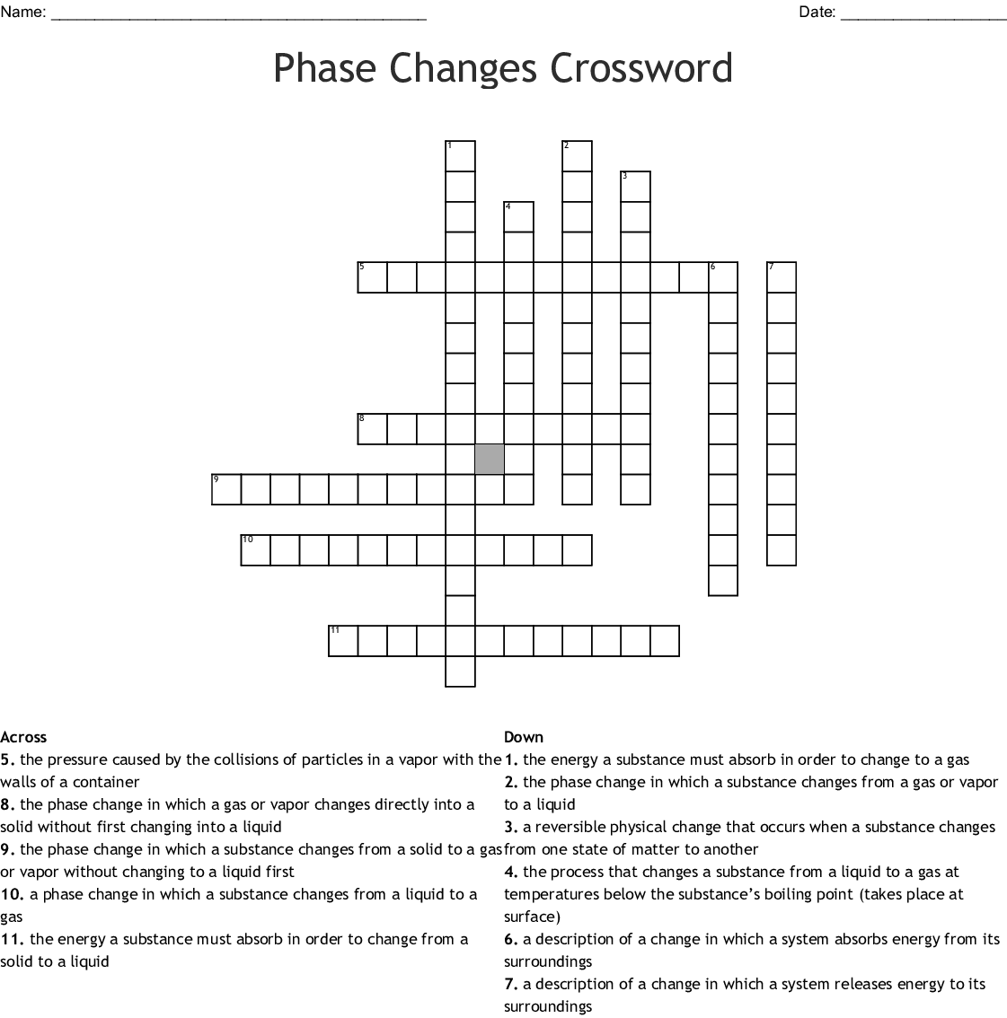 States Of Matter Crossword