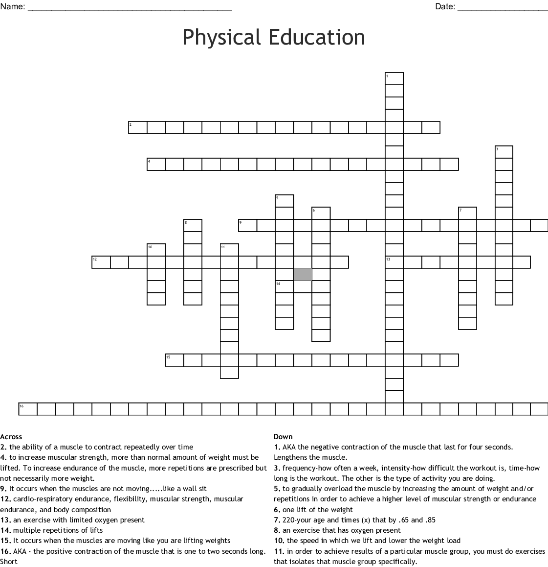 Similar To Physical Fitness Crossword Puzzle