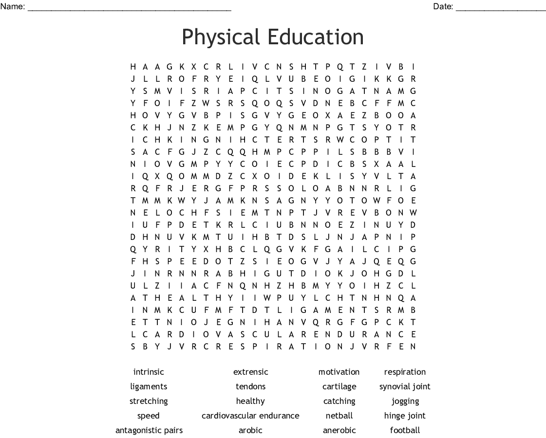 Physical Education Word Search