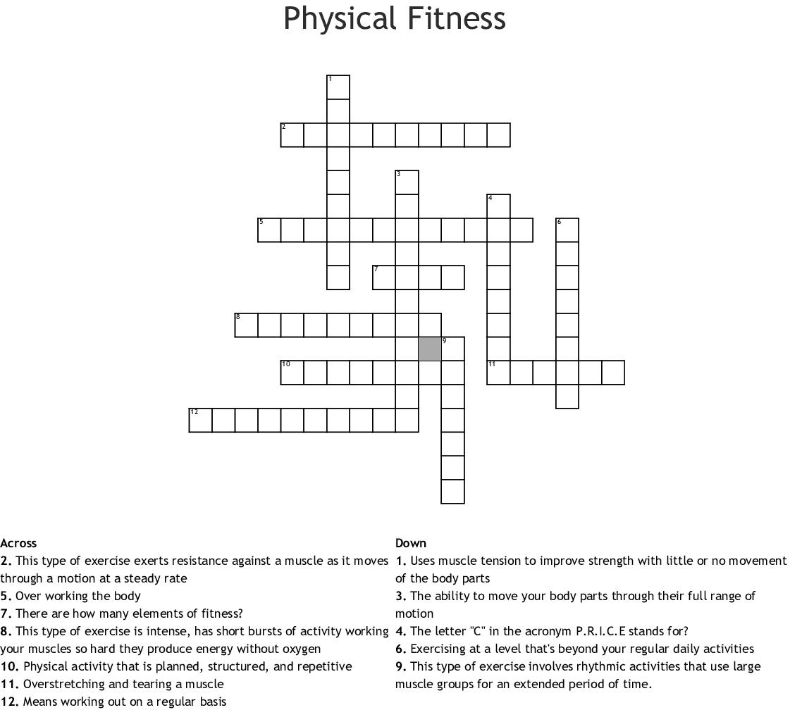 Fitness Crossword Puzzle