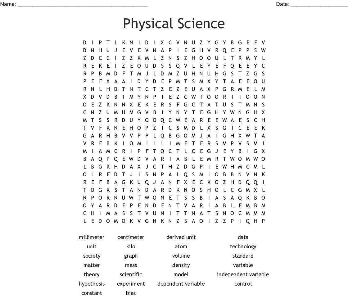 Science 7th Grade Crossword Puzzle