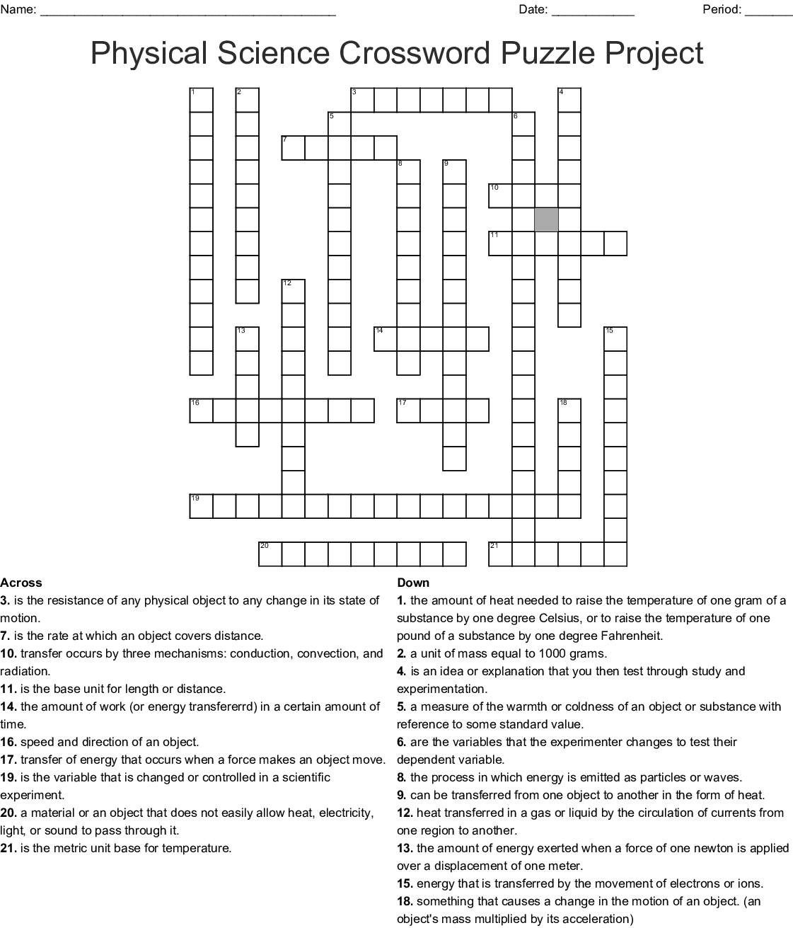 Physical Science Crossword Puzzle Project