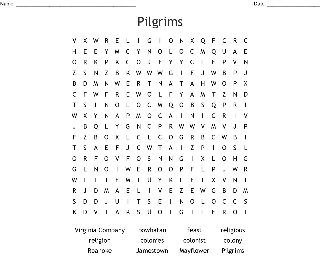 Pilgrims Word Search