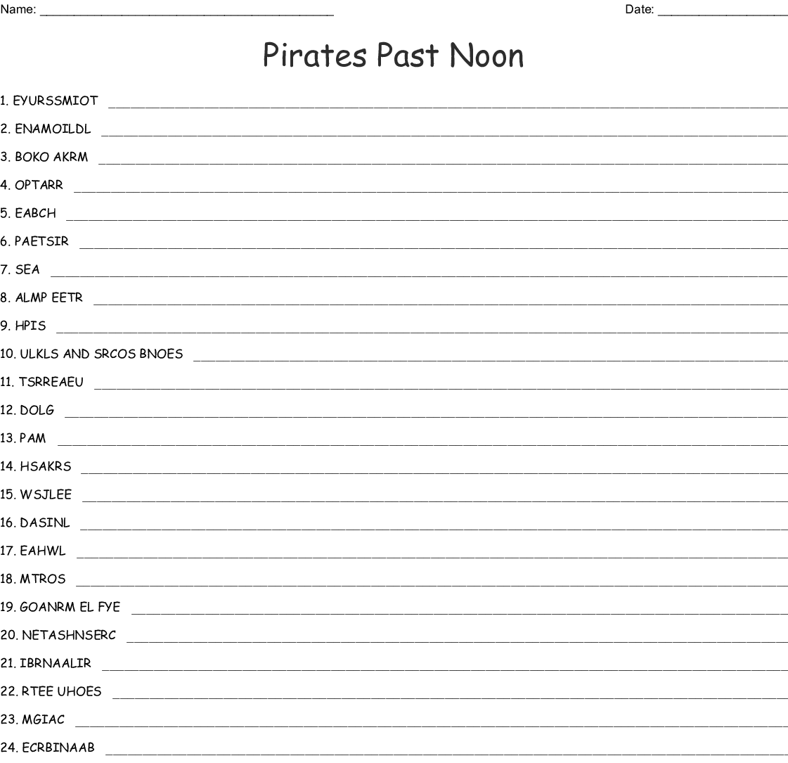Pirates Past Noon Word Search