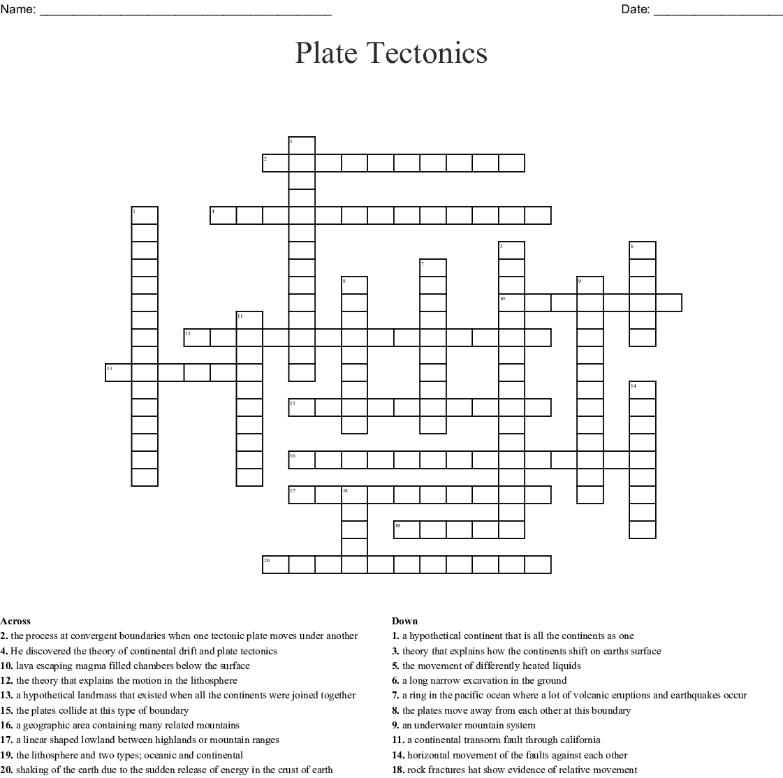 Bestseller The Theory Of Plate Tectonics Worksheet Answers