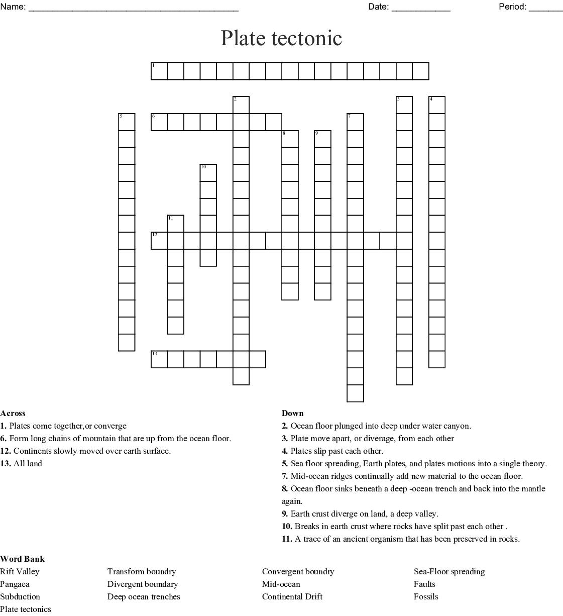 Plate Tectonic Crossword