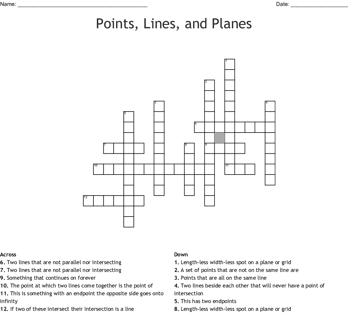 Points Lines And Planes Crossword