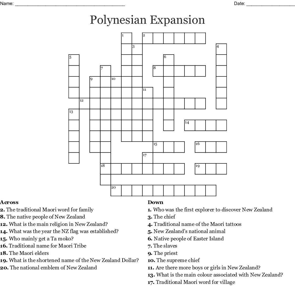 Polynesian Expansion Crossword