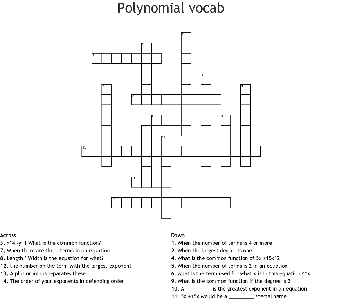 Polynomial Crossword Puzzle Darkow